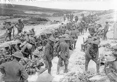 Battle of Albert. Men of the Royal Warwickshire Regiment resting in reserve; Jacob's Ladder, opposite Beaumont Hamel, July 1916