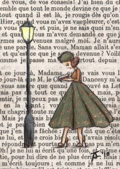 art by jess purser hand painted onto a 1972 french vintage book page - Book Page