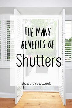 Beautiful shutters, shutters have so mnay benefits and are such a lovely asset to a home come and find out why Modern Shutters, Vinyl Shutters, Interior Shutters, Interior And Exterior, Interior Ideas, Beautiful Space, Beautiful Homes, Cafe Style, Contemporary Apartment