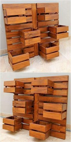 You can magically make the use of the wood pallet repurposing idea by turning it into the stylish creation of planter arrangement. Check out this image! It looks quite unique as it is all embellish with the planks use. Pallet Bed Frames, Wood Pallet Tables, Wooden Pallets, Pallet Furniture, Pallet Patio, Pallet Bench, Furniture Nyc, Cheap Furniture, Furniture Ideas