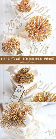 Luxe Gifts with Easy to Make Pom Pom Embellishment by Becca Feeken for Spellbinders using S4-049 Loopy Roll Flowers, S6-124 Mini Card/Booklet Gift Box, SR-106 Giving Makes You Happy - Gift Box, S4-768 Swirls Strip Die, S4-767 Classic Twirling Vines, and S4-644 Botanical Box Inserts #spellbinders #diecutting #gifts