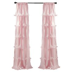 Sheer, cascading ruffles and a soft pink hue make this luxe curtain perfect for lending a feminine touch to your guest room or master suite....