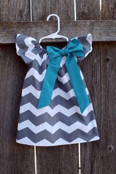 Gray Chevron Teal Bow Peasant Dress - Baby Girl. $27.50, via Etsy.