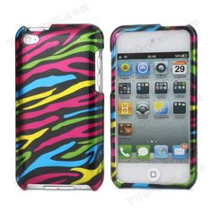 #Zebra Stipe 2 in 1 Snap-on Hard Plastic Case for #iPod #Touch4 - Black / Colorful
