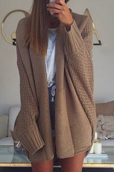 Chic Batwing Sleeve Solid Color Long Cardigan For Women