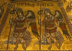 Power Angels: Spiritual Warriors: Powers angels on the mosaic ceiling of the baptistery in San Giovanni church, Florence, Italy
