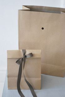 Tied Brown Bag with Ribbon