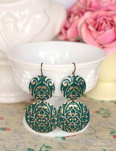 Stunning DIY Embossed Emerald Statement Earrings