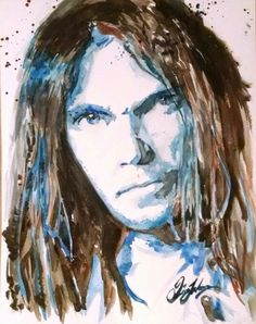 """Neil Young 11×14"""" watercolour painting. Painted August 1, 2015 by Quinn Lockman"""