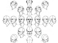 Human Figure Drawing Reference head drawing - How to Draw a Face : Here's a simple way to place the features accurately when drawing a head. First draw a vertical line down the middle of the face. Then draw a horizontal line halfway Drawing The Human Head, Drawing Heads, Human Figure Drawing, Figure Drawing Reference, Drawing Poses, Art Reference Poses, Drawing Portraits, Face Proportions Drawing, Anatomy Reference