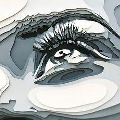 Layered Paper Portraits by Shelley Castillo Garcia - Inspiration Grid Design Inspiration Folded Book Art, Book Folding, Cardboard Art, Paper Illustration, A Level Art, Eye Art, Paper Art, Paper Cut Out Art, Paper Cutting