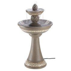 classic mosaic tile Pineapple 2 tier bird bath Outdoor Garden patio Fountain