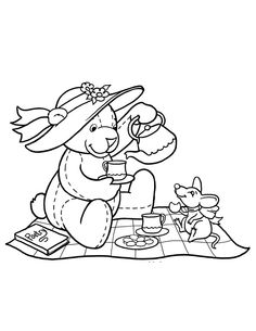 Teddy Bear Drink Together Mice Coloring Pages For Kids Printable Bears
