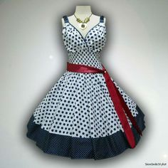 Gorgeous Prom Party White Polka Dot 50s PIN UP ROCKABILLY SWING DRESS Size L