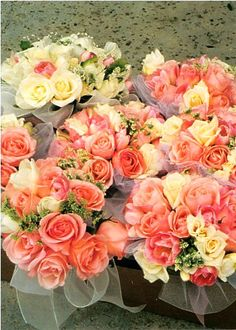 the roses look beautiful, I would just want more yellow with the coral..pretty pretty