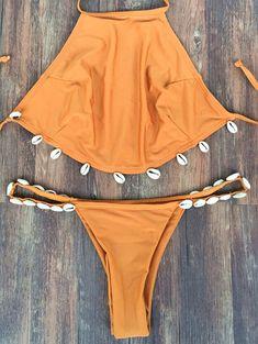 Backless Shelled Halter Bikini Set #beach#trends#style#swimsuit