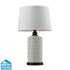 """D128 - Dimond by Elk D128 23"""" Open Work Table Lamp in Off White - GoingLighting"""