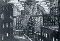 reproductions of a series of preliminary drawings prepared by Erich Kettelhut for the production of Metropolis. Kettelhut was one of the production team formed during 1924 to work with Fritz Lang and Thea von Harbou on developing the film and preparing it for shooting. http://filmsketchr.blogspot.com/2011/06/majestic-metropolis-concept-art-shows.html