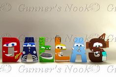 Your place to buy and sell all things handmade Car Birthday, Birthday Parties, Bens Car, Tow Mater, Character Letters, Ideas Para Fiestas, Disney Crafts, Wooden Letters, Kingston