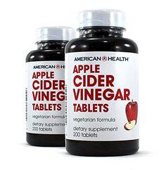 American Health Apple Cider Vinegar Tablets Pack) - Balanced Diet and Exercise Program Support, No Tart Vinegar Taste - Non-GMO, Gluten-Free, Vegetarian - 480 mg, 200 Count - 200 Total Servings Apple Cider Vinegar Brands, Apple Cider Vinegar Tablets, Apple Cider Vinegar Remedies, Apple Cider Vinegar Benefits, Apple Cider Vinegar Detox, Drinking Vinegar, Apple Health, Plus 4, Detox Recipes
