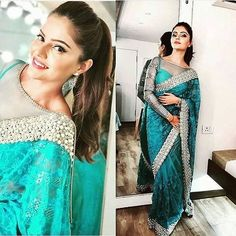 Designer Black Blouses You Can Shop Right Now! Stylish Blouse Design, Fancy Blouse Designs, Saree Blouse Designs, Indian Beauty Saree, Indian Sarees, Silk Sarees, Designer Sarees Wedding, Tashan E Ishq, Modern Saree