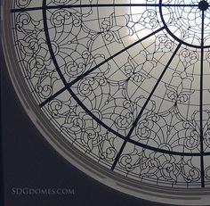 Detail of 13' dia #leadedglassdome designed and built by http://solariumglassdomes.com/