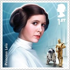 A Royal Mail stamp featuring Princess Leia