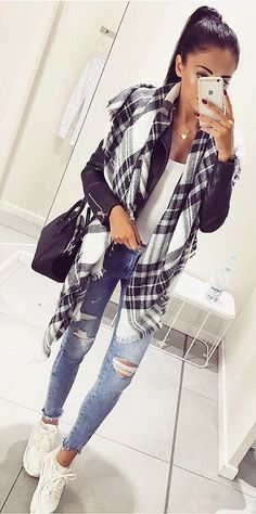 White sneakers + blue jeans + white top + scarf