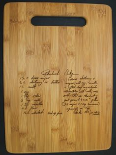 Perfect for Mother's/Father's Day!  Vertical Recipe scanned from Moms or Grandmas handwriting - Bamboo Cutting Board with Laser Engraved Recipe - Personalized  8.5 x 11. $33.00, via Etsy.