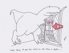 T-Rex trying to spin the wheel on The Price is Right