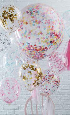 Was darf auf keiner Hochzeit fehlen? Natürlich Ballons! Wir lieben diese bunten, mit Konfetti gefüllten Hochzeitsballons!