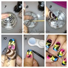 I have made you a collection of 16 amazing water marble nail art designs and and a super simple tutorial for how to do them. Latest Nail Designs, Cool Nail Designs, Pretty Designs, Hot Nails, Hair And Nails, Luminous Nails, Water Marble Nail Art, Special Nails, Marble Nail Designs