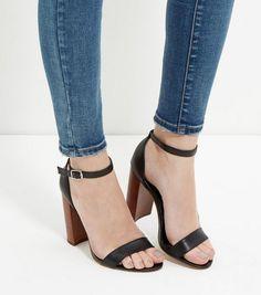 Black Leather Block Heel Sandals  | New Look