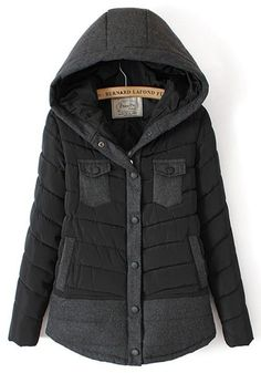 Black Patchwork Pockets Collar With Hat Padded Coat