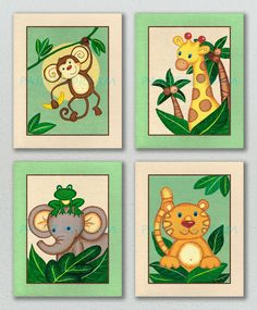 JUNGLE BABIES Animals Giclee Print Set Nursery Baby by paintadream, $18.00