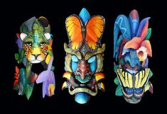 For the twelfth year in a row, the exhibit of hand-carved masks created by the Native Americans of Costa Rica return Read Costa Rica Art, Rainforest Project, Tiki Art, Art And Craft Design, Animal Masks, Masks Art, Animal Paintings, Sculpture Art, Fantasy Art