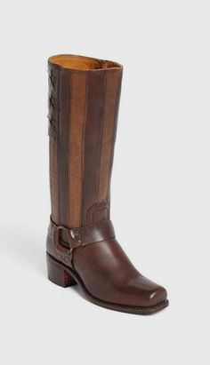 Two Toned Brown Leather Boots