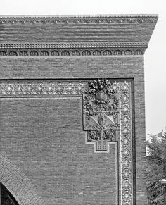 Detail of the cornice and exterior ornament on the National Farmers' Bank, Owatonna, Minnesota, built 1907-1908. Photo courtesy of The Richard Nickel Committee and Archive.