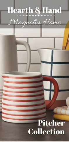 These ceramic pitchers bring fresh color and an artisan feel to your tabletop. Plus, they're great as a utensil holder or vase for fresh-cut stems. From the Hearth & Hand Collection, a home and lifestyle brand by Chip and Joanna Gaines.  #pitcher #vase #kitchenutensils #hearthandhand #joannagaines #ad