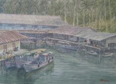 Kelarik Harbor, Natuna Islands, Indonesia ( Donny Prawira n his bad watercolor arts)