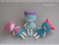 Mini Winter Dolls - pdf knitting pattern. Knitted in the round and double knitting.