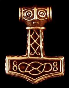 Anhänger ~ MJÖLNIR ~ mit Wikingermustern - Bronze - Anhänger Thors Hammer - Windalf