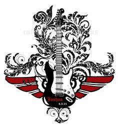 Rock Star Guitar Theme Bar Mitzvah Logo , Rock and Roll Bar Mitzvah Logos  www.cutiepatootiecreations.com