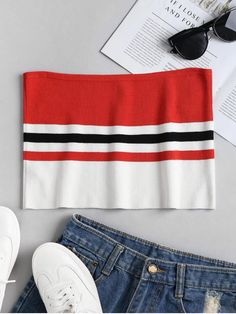 Knit Striped Bandeau Tube Crop Top. This casual blouse features a sexy plunge collarline, retro polka dot pattern throughout and three-quarter sleeves, as well as a big bowknot tied at front. #zaful #tops #outfits