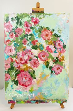 I'll Take Two Dozen 18 x 24 on Paper Abstract Flowers, Art, Painting by Kendra Joyner