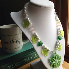 Green Flower Necklace and earring set beaded by JewelryDefined