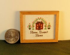 Miniature Cross Stitch Sampler / Picture for Hitty or Doll House