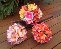 Plumeria Hibiscus Bouquet Package Choice of by Abloomortwo on Etsy Plumeria Bouquet, Boquet, Bride Bouquets, Tropical Design, Ribbon Colors, Buttonholes, Wedding Planning, Bloom, Bridesmaid