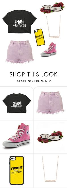 """""""GRL PWR"""" by karinablood ❤ liked on Polyvore featuring Miss Selfridge, Converse, Casetify and Seoul Little"""