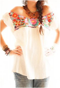 Mexican Off Shoulder Blouse- effing love this!